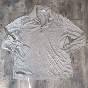 Calvin Klein quarter zip up tan long sleeve